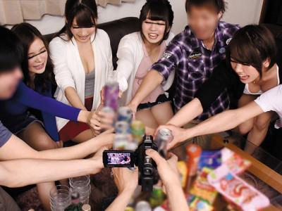《泥酔JDナンパ》『カンパ〜イ☆』超乳の女子大生とギャル男がエロゲームw乱交で即ハメw