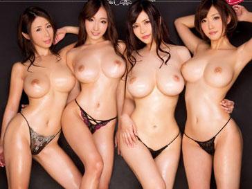 美乳で巨乳おっぱいなAV女優とハーレムセックスw