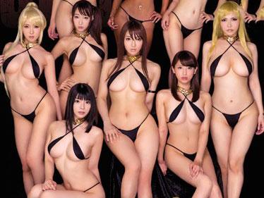 【コスプレ】スレンダーな巨乳おっぱいお姉さんがハーレムセックス